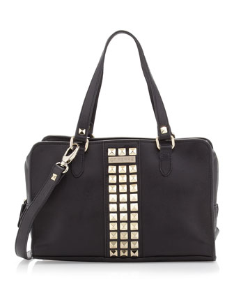 Studded Zip-Around Satchel Bag, Black
