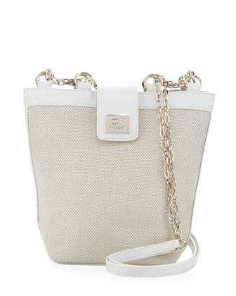 Woven Chain-Strap Shoulder Bag, White