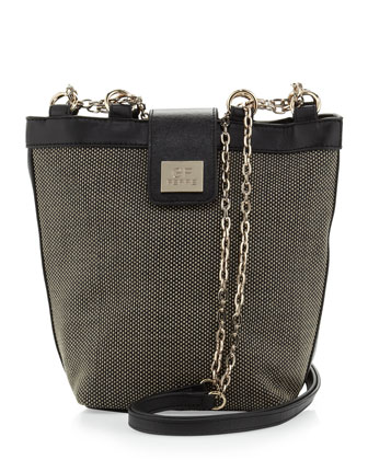 Woven Chain-Strap Shoulder Bag, Brown/Black