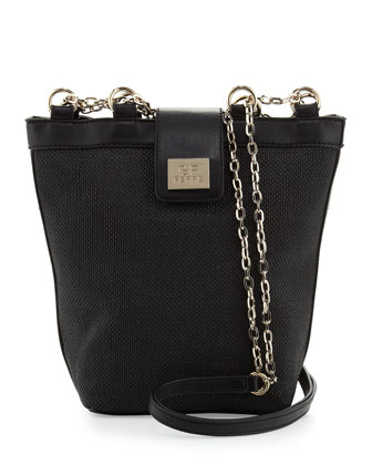 Woven Chain-Strap Shoulder Bag, Black