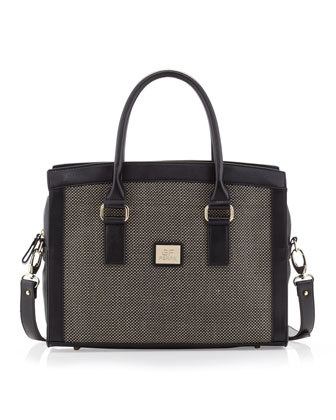 Large Woven-Center Satchel Bag, Black/Black