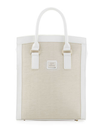 Woven-Center Shopper Tote Bag, White