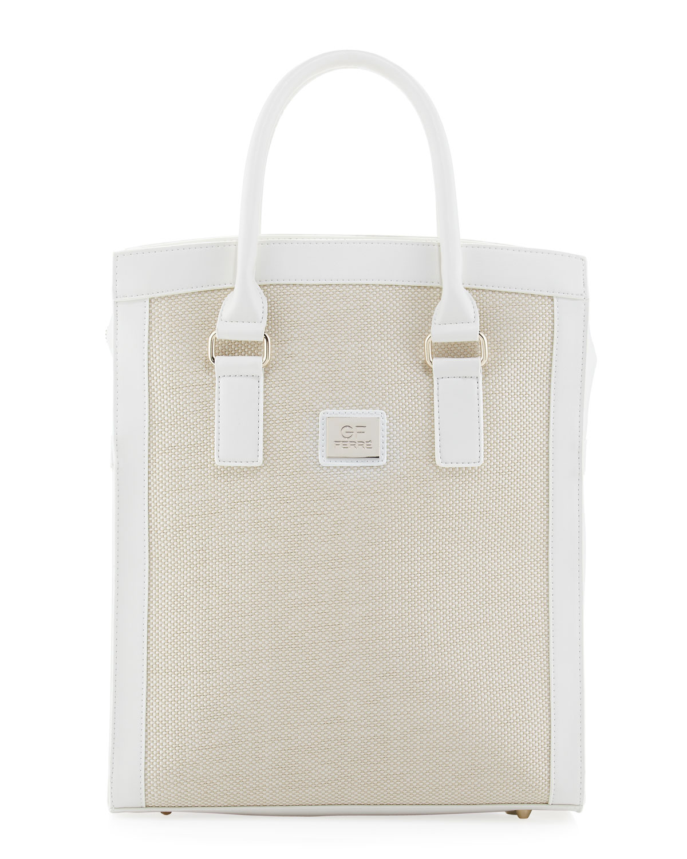 Woven Center Shopper Tote Bag, White   GF Ferre
