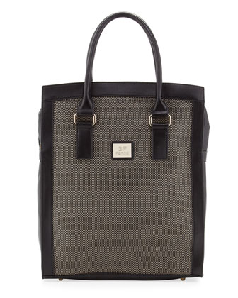 Woven-Center Shopper Tote Bag, Olive
