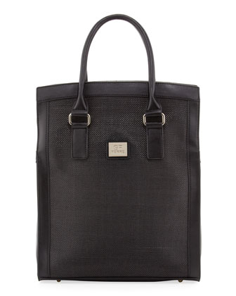 Woven-Center Shopper Tote Bag, Black