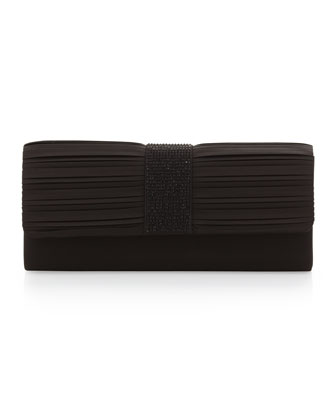 Pleated Satin Pochette Clutch Bag, Black