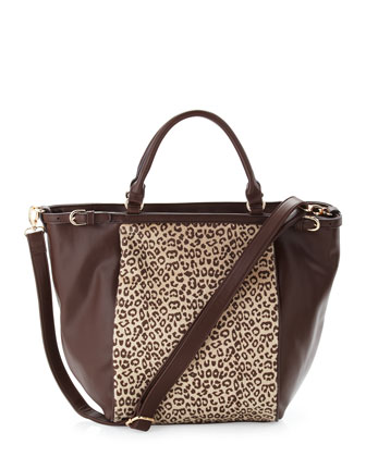 Cheetah-Print Faux-Calf-Hair Tote Bag, Brown