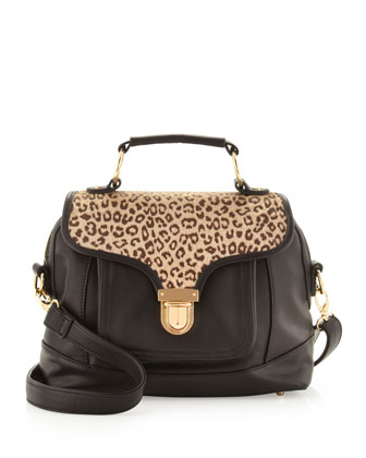 Front-Pocket Satchel, Black/Cheetah