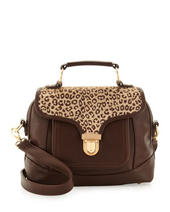 Front-Pocket Satchel, Brown/Cheetah