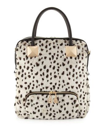 Snow Leopard Faux-Fur Tote Bag, White