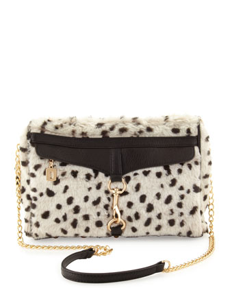 Snow Leopard Faux-Fur Shoulder Bag, White