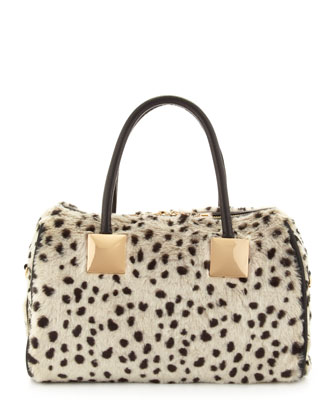 Snow Leopard Faux-Fur Satchel Bag, White