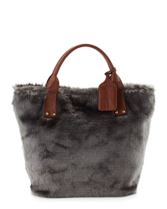 Oversized Faux-Fur Tote Bag, Gray/ Brown