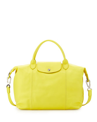 Le Pliage Cuir Handbag with Strap, Yellow