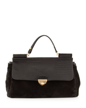Rolled-Strap Faux-Fur Satchel Bag, Black
