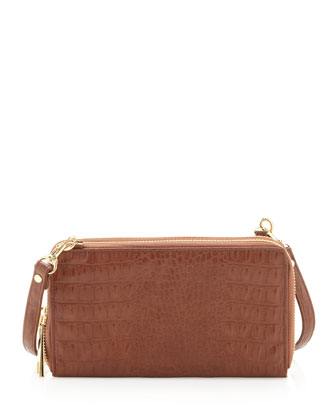 Double-Zip Crossbody Bag, Brown