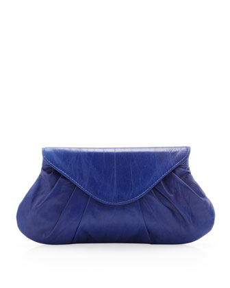 Lotte Pleated Leather Flap Clutch Bag, Cobalt
