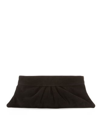 Louise Corduroy Suede Clutch Bag, Black