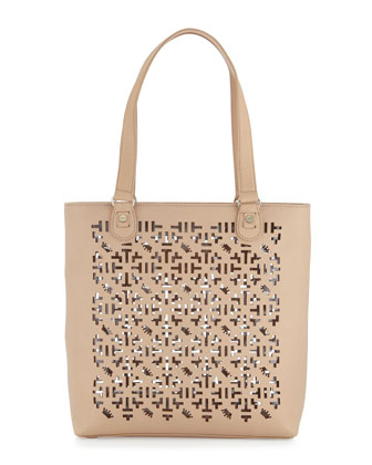 Alisoni Laser Cut Vachetta Leather Tote Bag, Natural