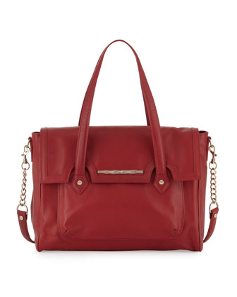 Aubrey Stamped Leather Satchel Bag, Red