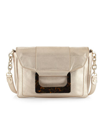 Olivia Distressed Metallic Leather Shoulder/Clutch Bag, Champagne