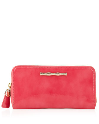 Patent Leather Continental Wallet, Pink