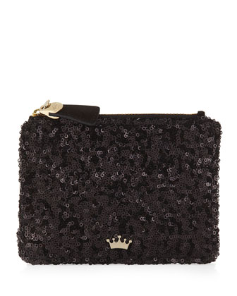 Sequined Coin Purse with Key Ring, Black