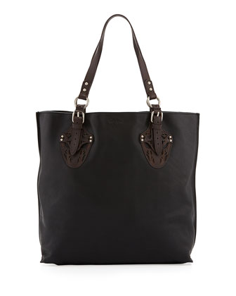 Equestrian Two-Tone Tote Bag, Black/Brown