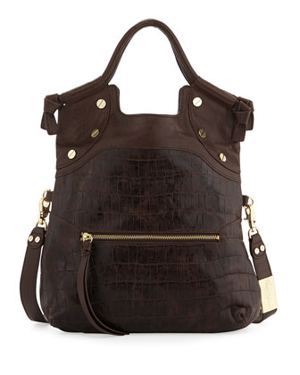 Lady Croc-Embossed Combo Bag, Brownie