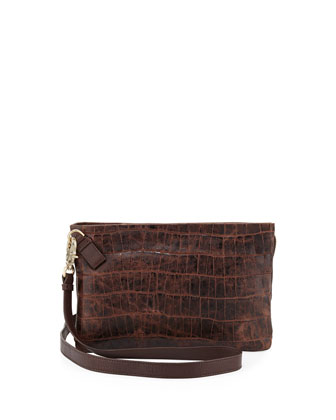 Cache Croc-Embossed Crossbody Bag, Brownie