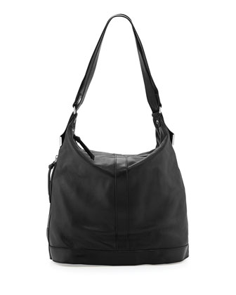 Framed Leather Convertible Backpack, Black