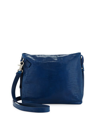 Crackled Leather Tablet-Cache Crossbody Bag, Azure
