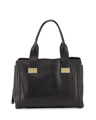 Plated Leather Satchel Bag, Black