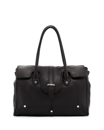 Jessica Fold-Over Satchel Bag, Black