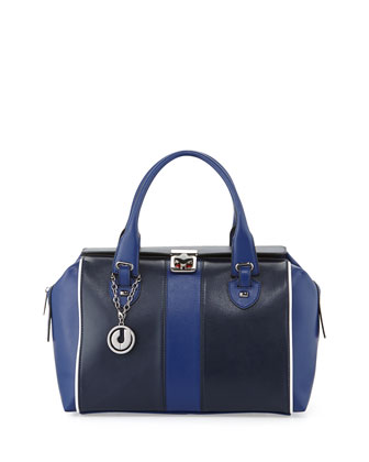 Kabrina Two-Tone Satchel Bag, Navy/Royal Blue