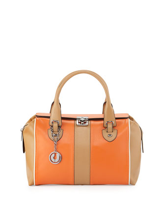 Kabrina Two-Tone Satchel Bag, Orange/Tan