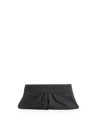 Eve Iridescent Textured Snap Clutch, Black