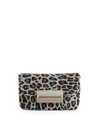 Iris Calfhair Chain Clutch, Grey