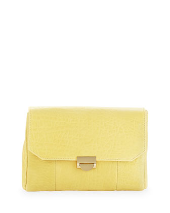 Mini Marlow Leather Chain Clutch, Butter