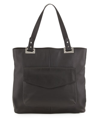 Abbey North-South Leather Tote Bag, Black