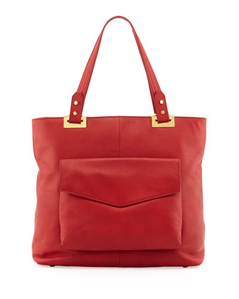 Abbey North-South Leather Tote Bag, Rouge