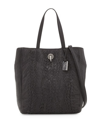 Eve Woven Leather Tote Bag, Black