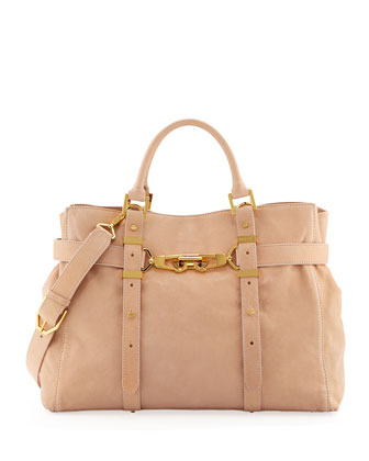 Hutton Leather Strap Tote Bag, Sand
