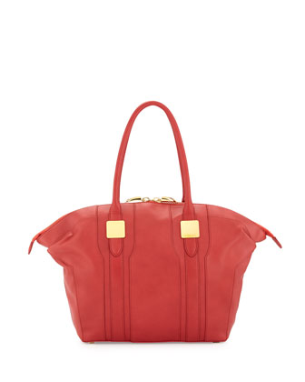 Morrison Paneled Leather Zip Tote Bag, Rouge