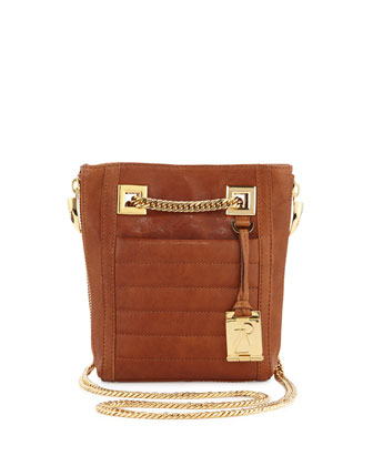 Montana Zip Leather Shoulder Bag, Saddle