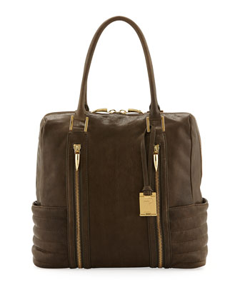 Montana Zip Leather Ribbed Tote Bag, Forrest