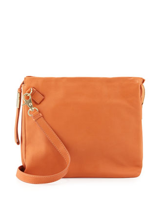 Crossbody Accordion Leather Messenger Bag, Peach
