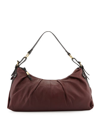 Equestrian Oversized Hobo Bag, Plum