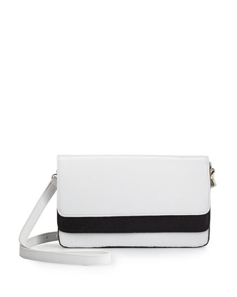 Zander Colorblock Accordion Leather Clutch, White/Black