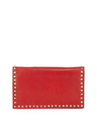 Carlyle Studded Leather Clutch Bag, Red